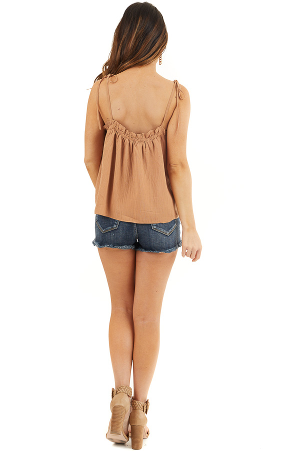 Camel Sleeveless Woven Babydoll Top with Self Tie Straps back full body