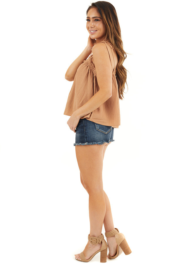 Camel Sleeveless Woven Babydoll Top with Self Tie Straps side full body