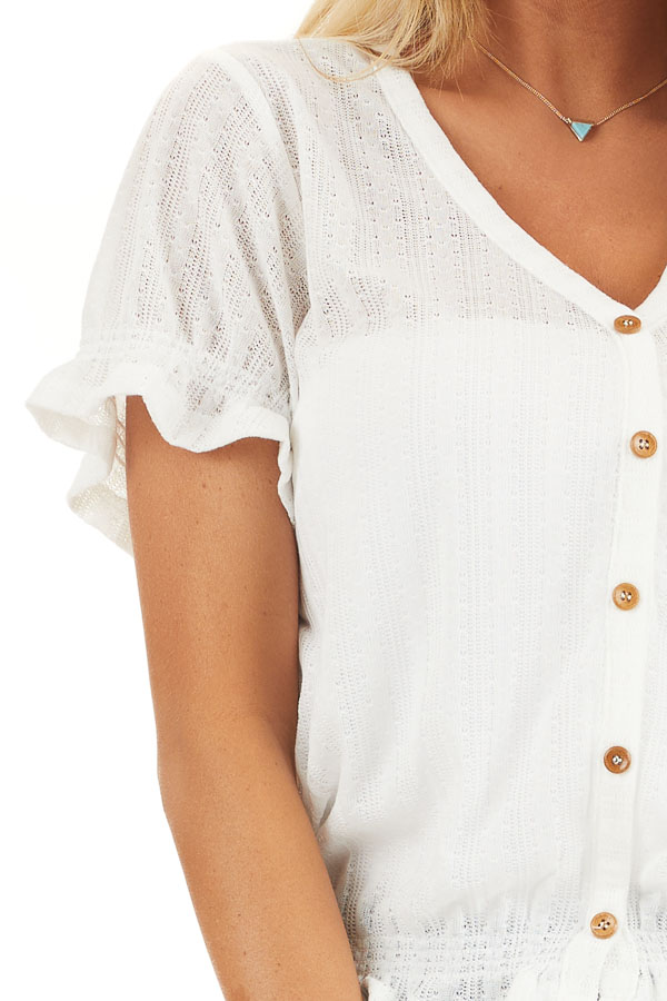Off White Sheer Knit Top with Puff Sleeves and Button Detail detail