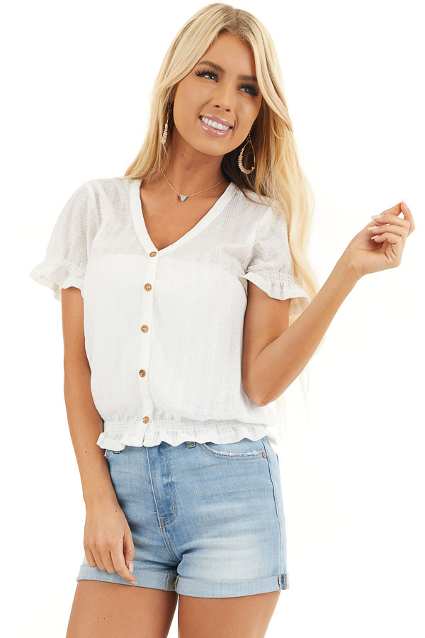 Off White Sheer Knit Top with Puff Sleeves and Button Detail front close up