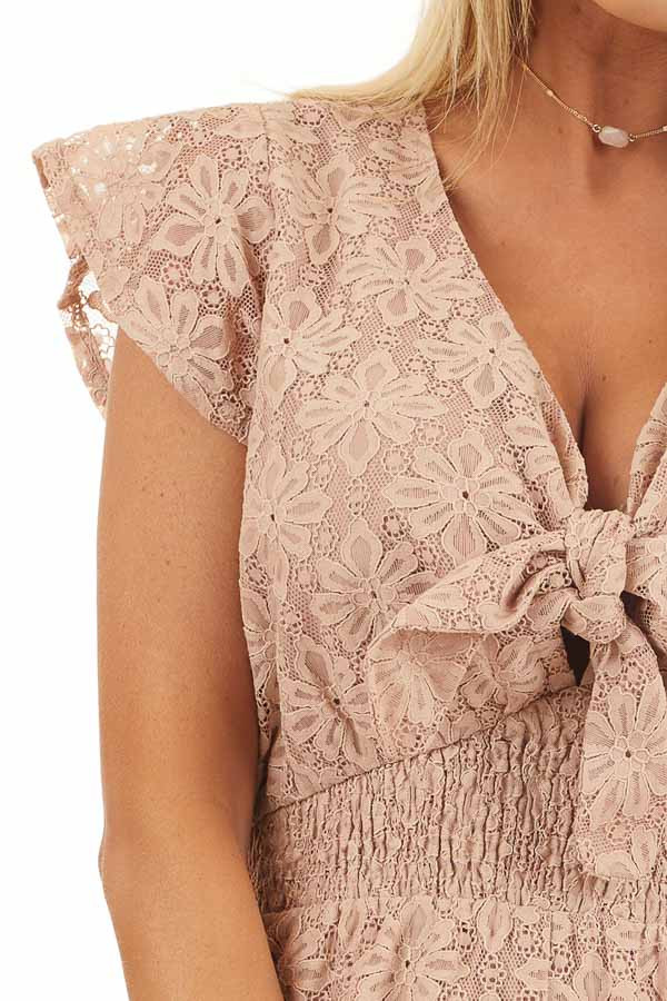 Toffee Floral Lace Romper with Smocked Waist and Front Tie detail