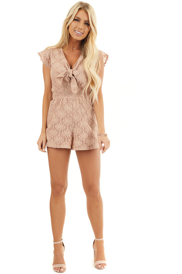 Toffee Floral Lace Romper with Smocked Waist and Front Tie front full body