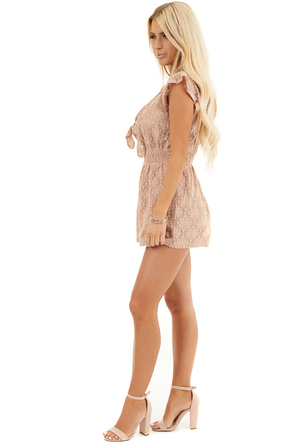 Toffee Floral Lace Romper with Smocked Waist and Front Tie side full body