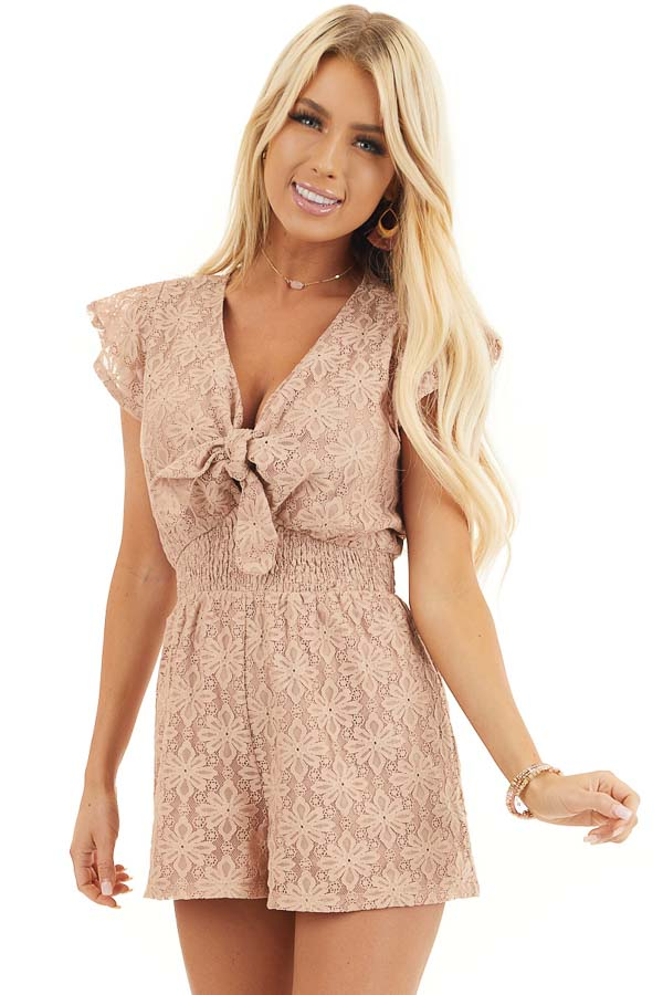 Toffee Floral Lace Romper with Smocked Waist and Front Tie front close up