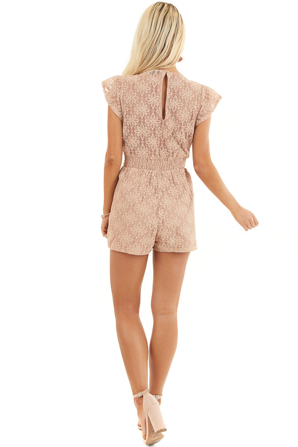 Toffee Floral Lace Romper with Smocked Waist and Front Tie back full body
