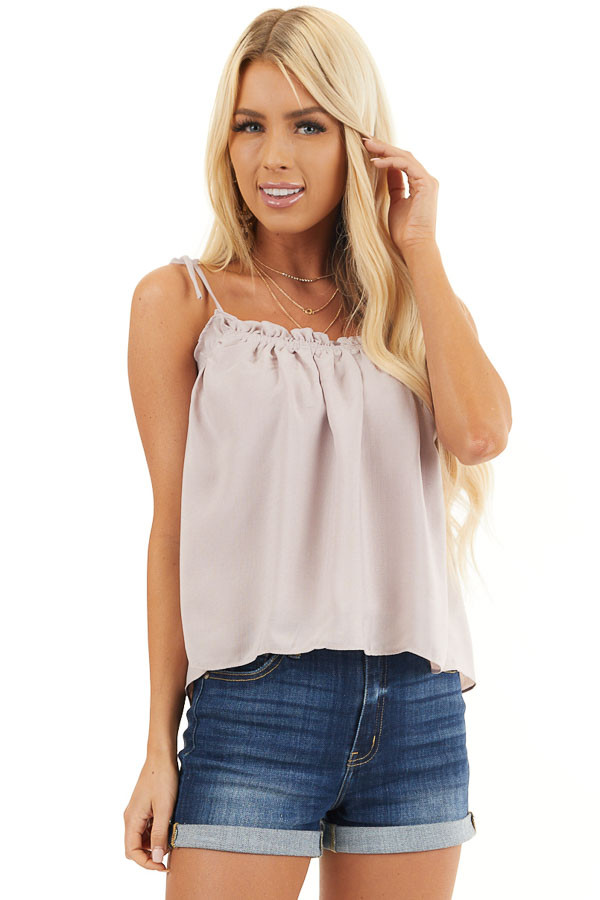 Light Taupe Sleeveless Shirred Tank Top with Tie Straps front close up