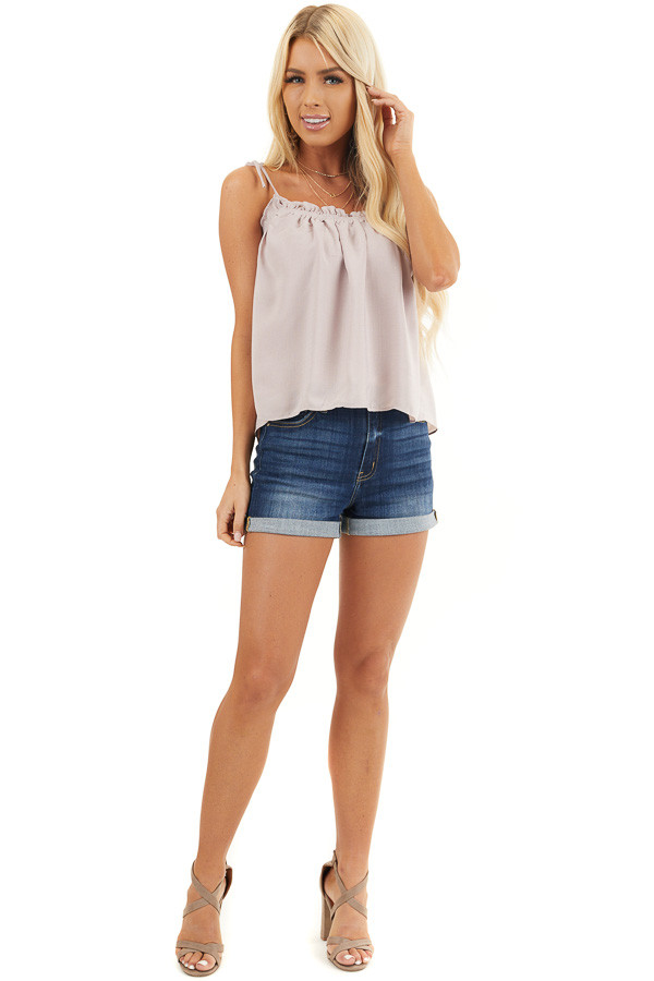 Light Taupe Sleeveless Shirred Tank Top with Tie Straps front full body
