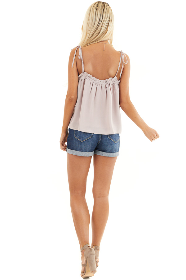 Light Taupe Sleeveless Shirred Tank Top with Tie Straps back full body