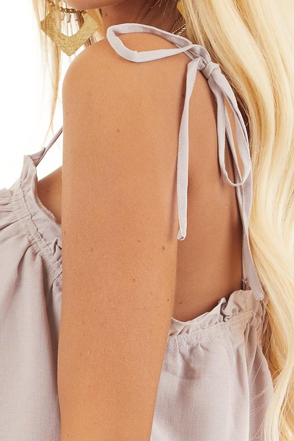 Light Taupe Sleeveless Shirred Tank Top with Tie Straps detail