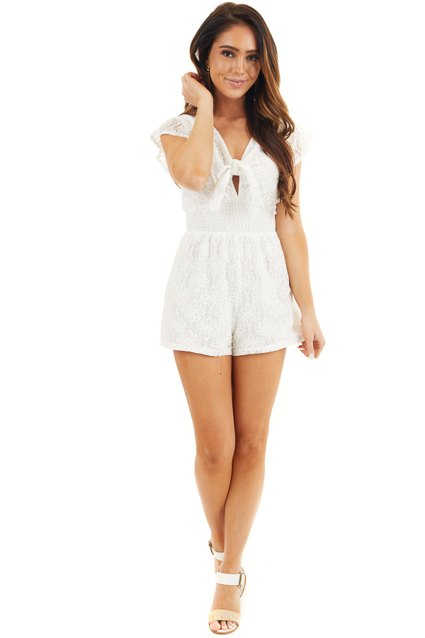 Ivory Floral Lace Romper with Smocked Waist and Front Tie front full body