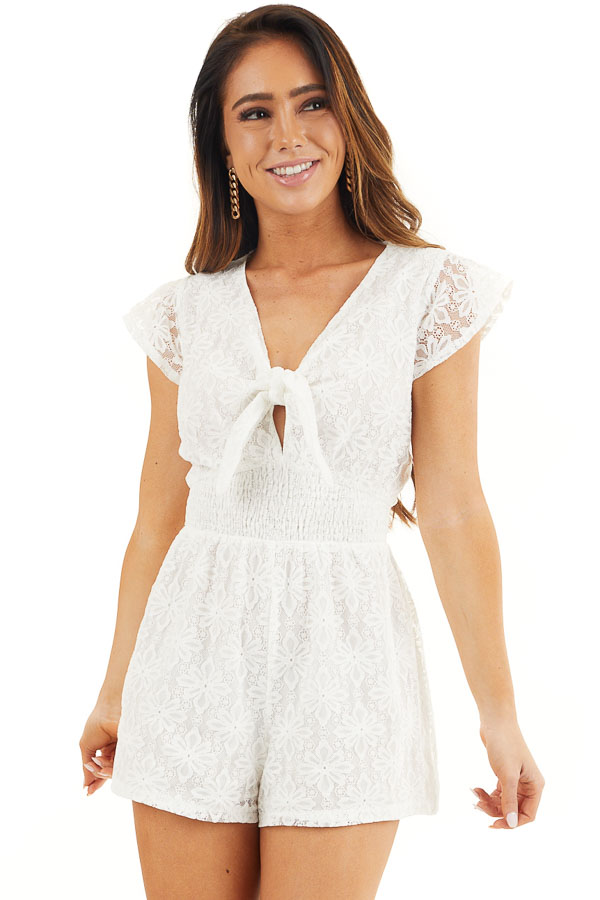 Ivory Floral Lace Romper with Smocked Waist and Front Tie front close up