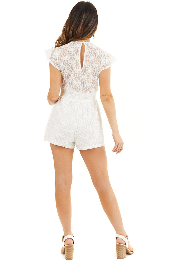 Ivory Floral Lace Romper with Smocked Waist and Front Tie back full body