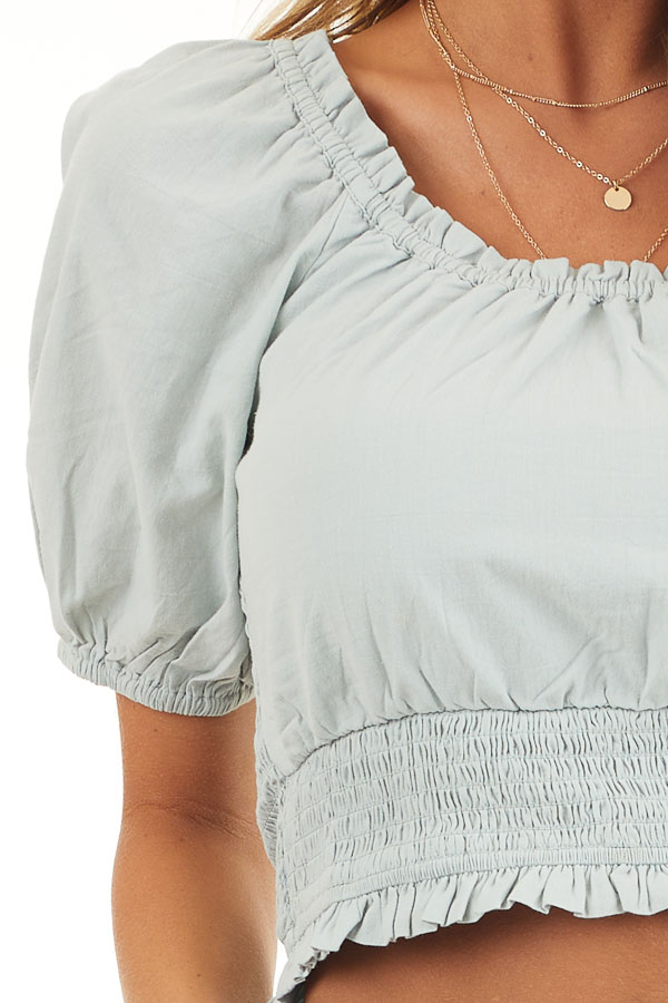 Sage Off Shoulder Smocked Crop Top with Puffy Sleeves detail