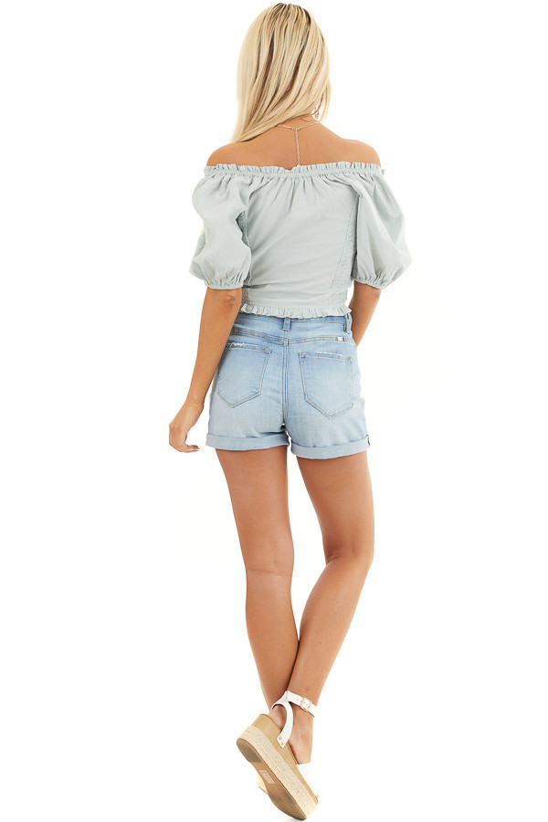 Sage Off Shoulder Smocked Crop Top with Puffy Sleeves back full body