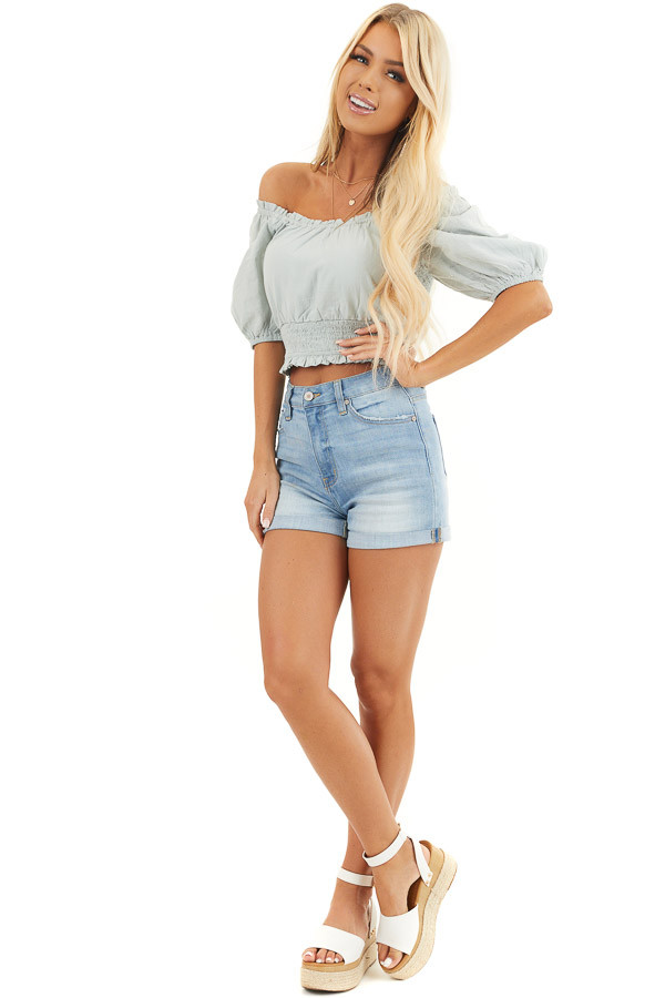 Sage Off Shoulder Smocked Crop Top with Puffy Sleeves front full body