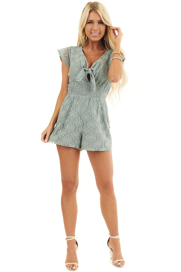 Sage Floral Lace Romper with Smocked Waist and Front Tie front full body