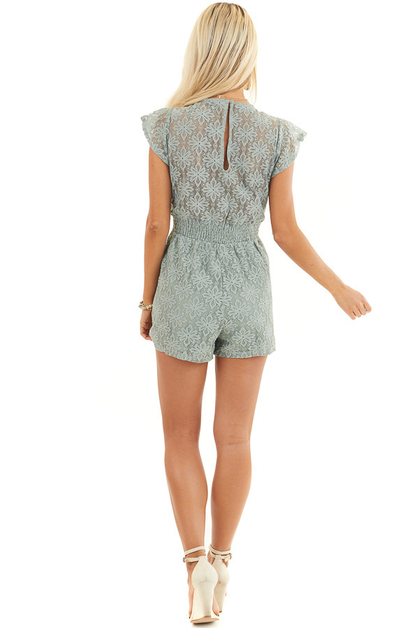 Sage Floral Lace Romper with Smocked Waist and Front Tie back full body