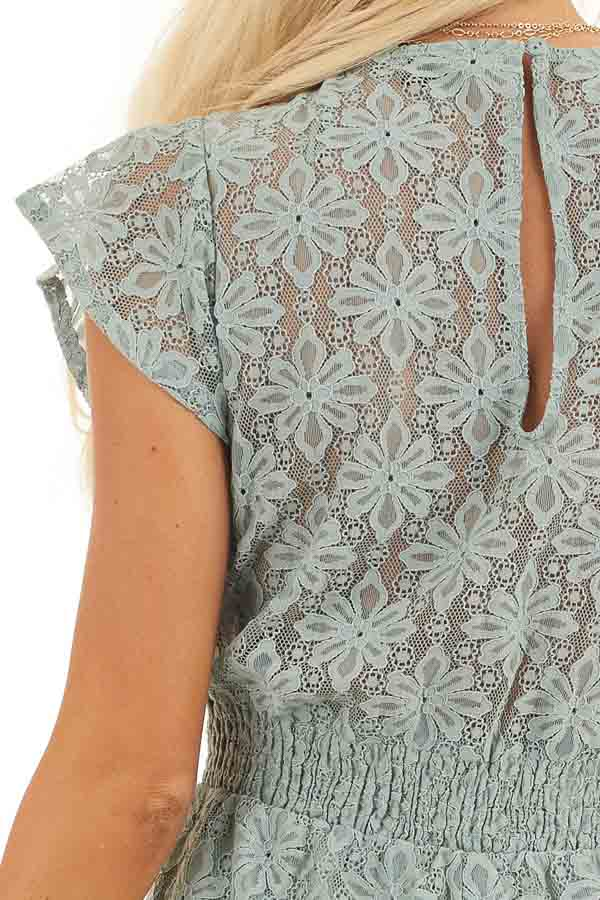 Sage Floral Lace Romper with Smocked Waist and Front Tie detail