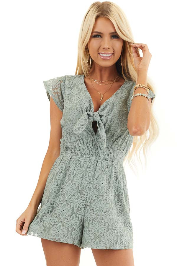 Sage Floral Lace Romper with Smocked Waist and Front Tie front close up