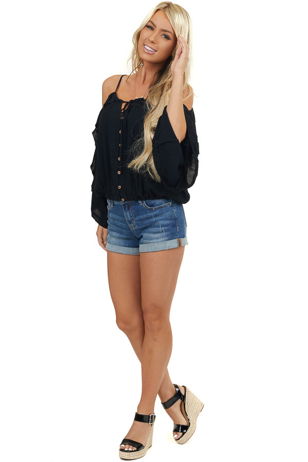 Black Cold Shoulder Button Up Top with Flare Sleeves