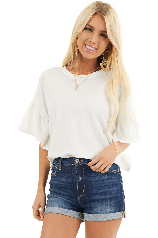Off White Knit Top with Short Ruffled Sleeves front close up