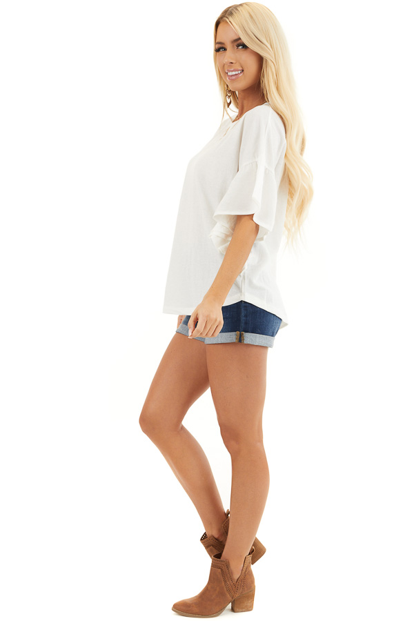 Off White Knit Top with Short Ruffled Sleeves side full body