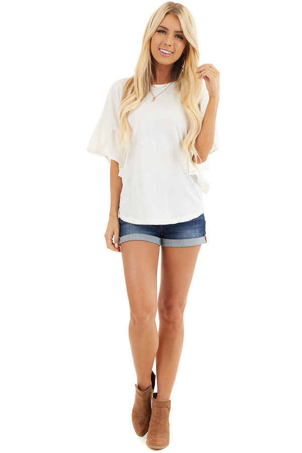 Off White Knit Top with Short Ruffled Sleeves front full body