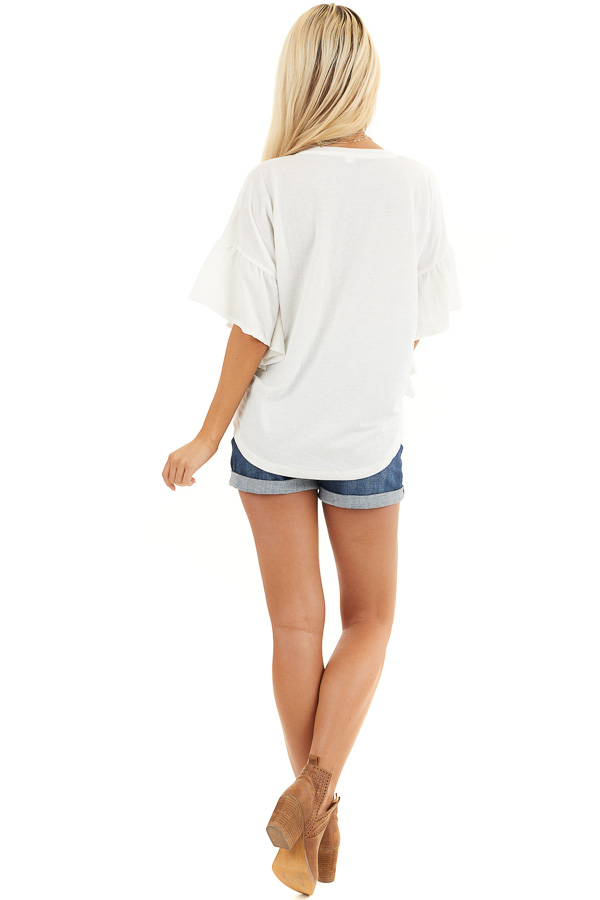 Off White Knit Top with Short Ruffled Sleeves back full body