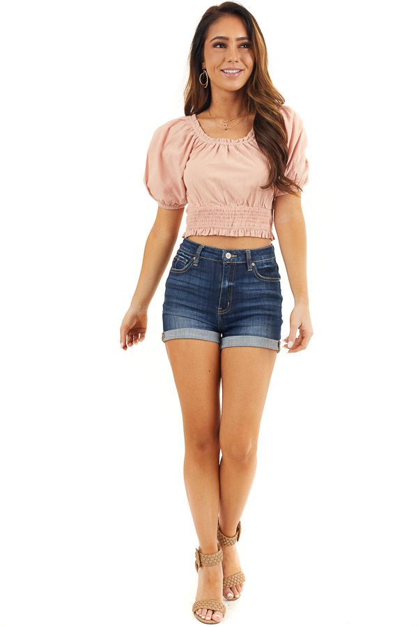 Dusty Blush Smocked Crop Top with Short Puffy Sleeves front full body
