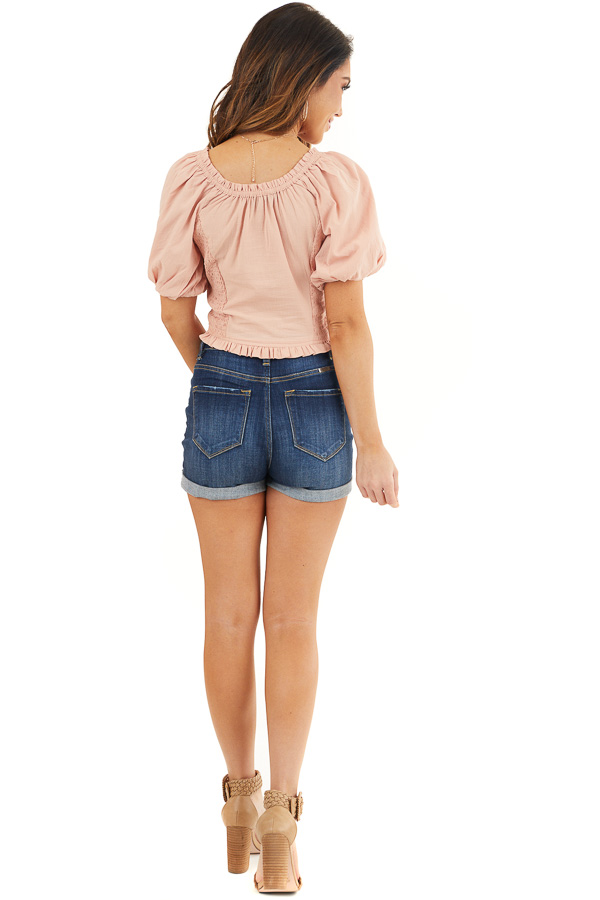 Dusty Blush Smocked Crop Top with Short Puffy Sleeves back full body