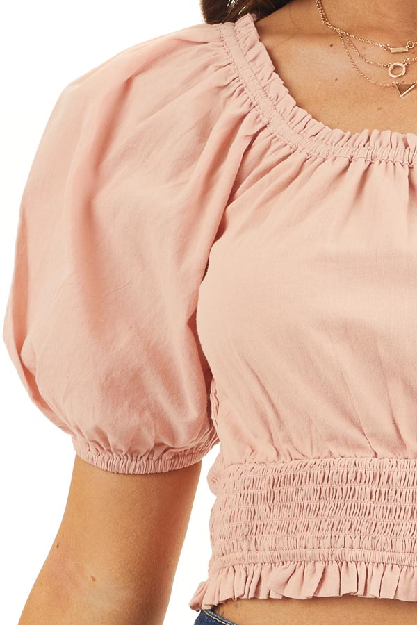 Dusty Blush Smocked Crop Top with Short Puffy Sleeves detail