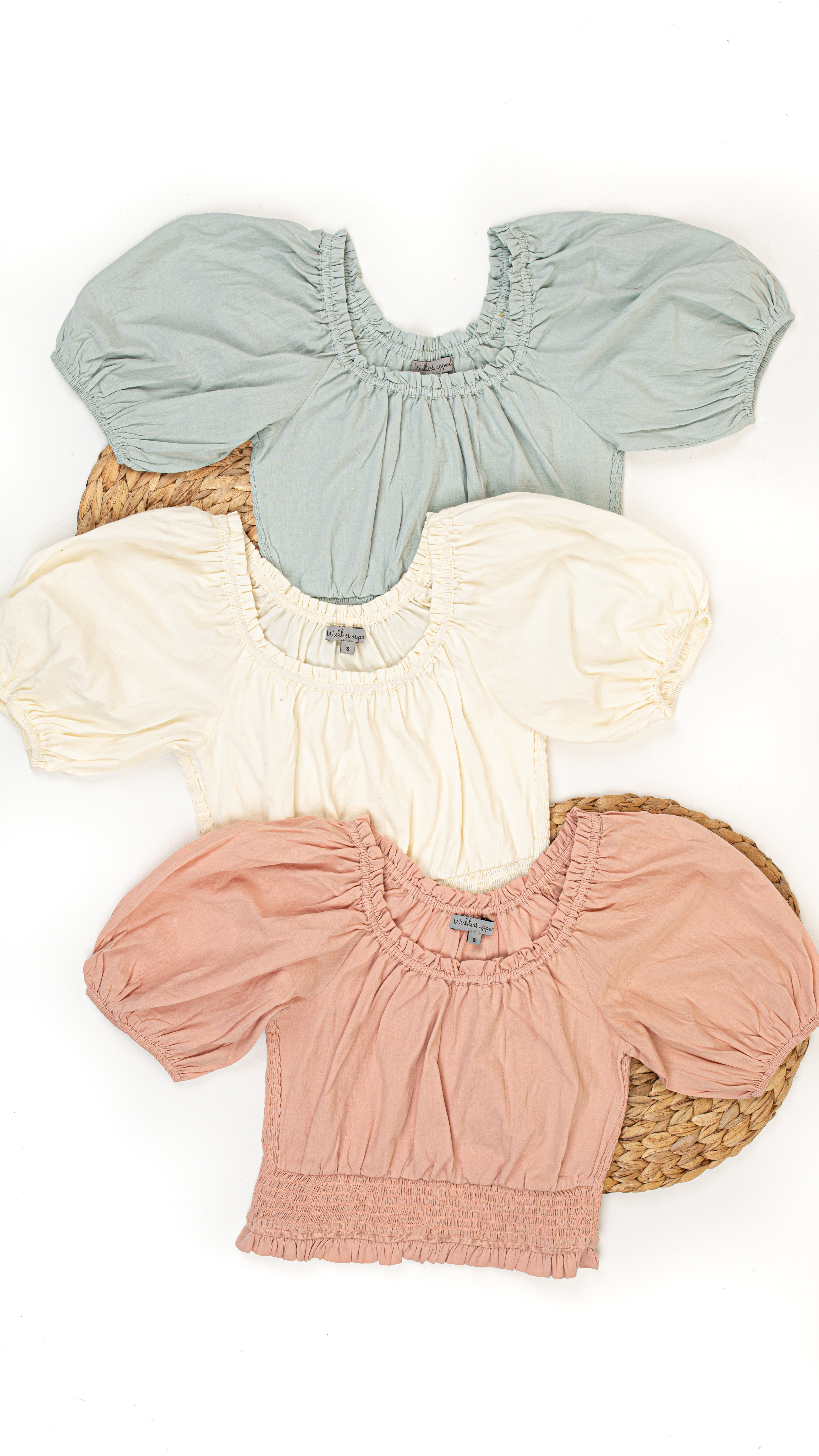 Cream Smocked Crop Top with Short Puffed Sleeves