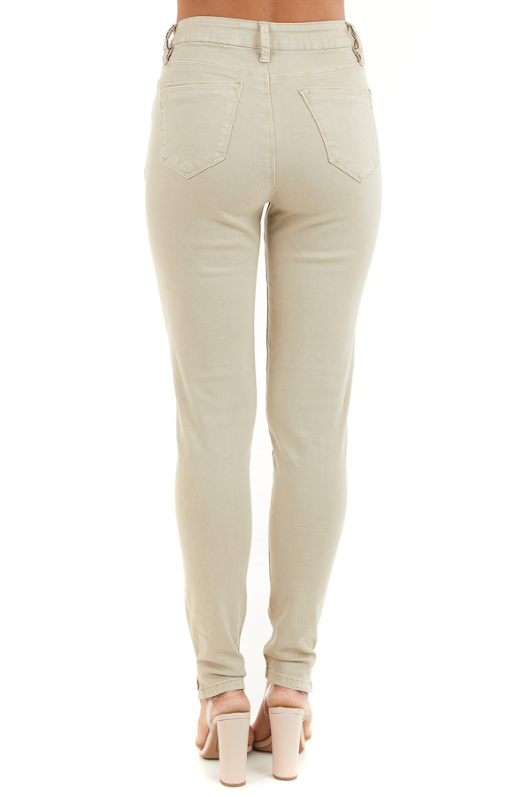 Khaki Skinny Jeans with 5 Functional Pockets and Slits back view