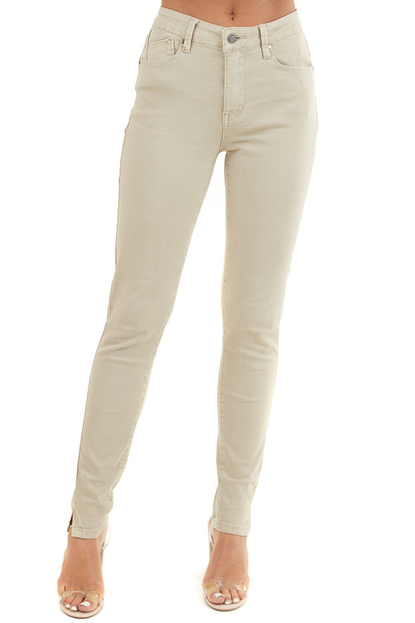 Khaki Skinny Jeans with 5 Functional Pockets and Slits front view