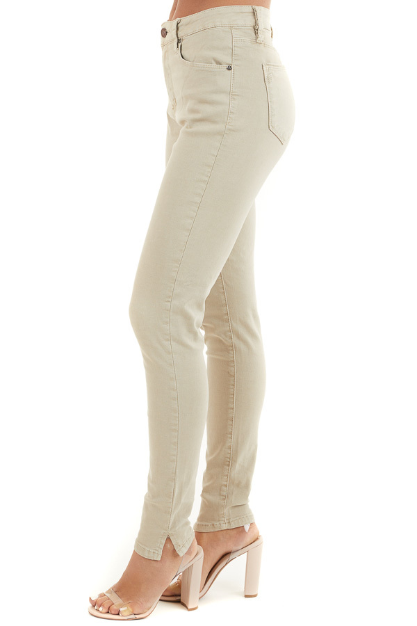 Khaki Skinny Jeans with 5 Functional Pockets and Slits side view