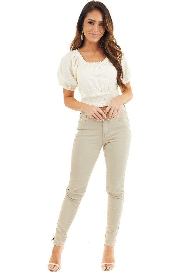 Khaki Skinny Jeans with 5 Functional Pockets and Slits front full body