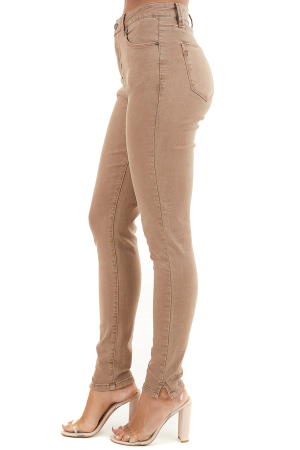 Light Cocoa Skinny Jeans with 5 Functional Pockets and Slits side view