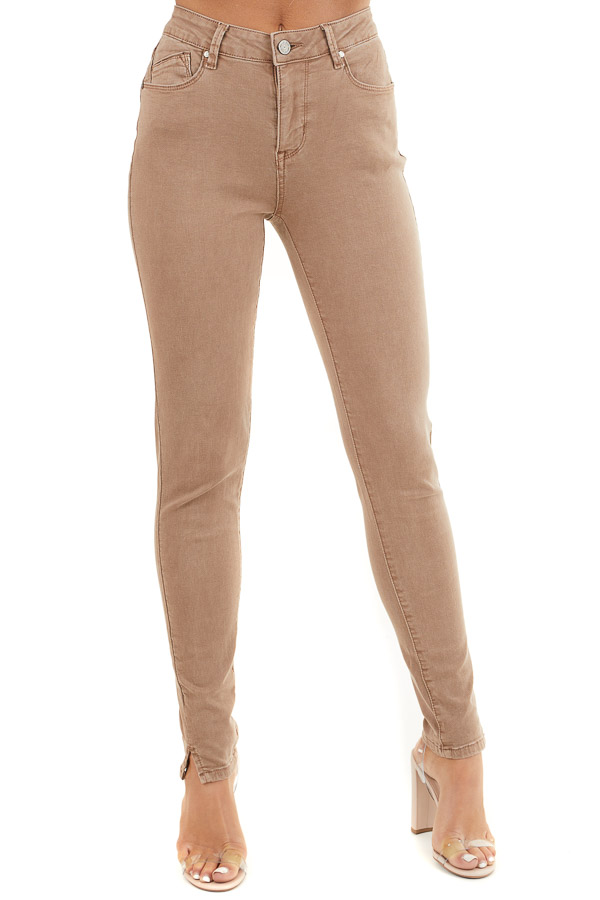 Light Cocoa Skinny Jeans with 5 Functional Pockets and Slits front view