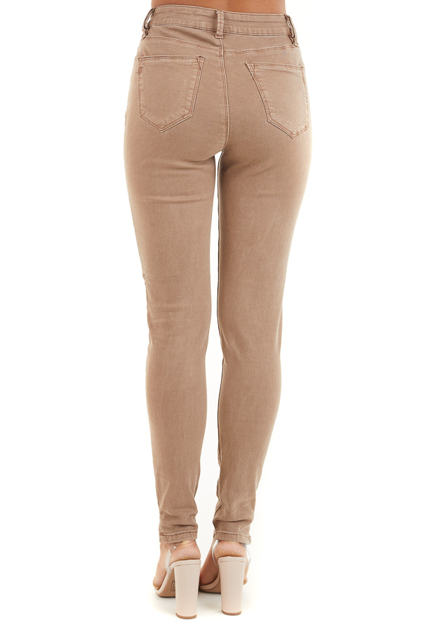 Light Cocoa Skinny Jeans with 5 Functional Pockets and Slits back view