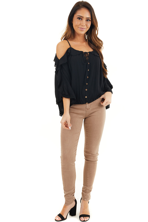 Light Cocoa Skinny Jeans with 5 Functional Pockets and Slits front full body