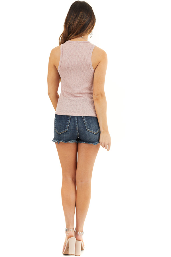 Dusty Rose Textured Knit Tank Top with Rounded Neckline back full body