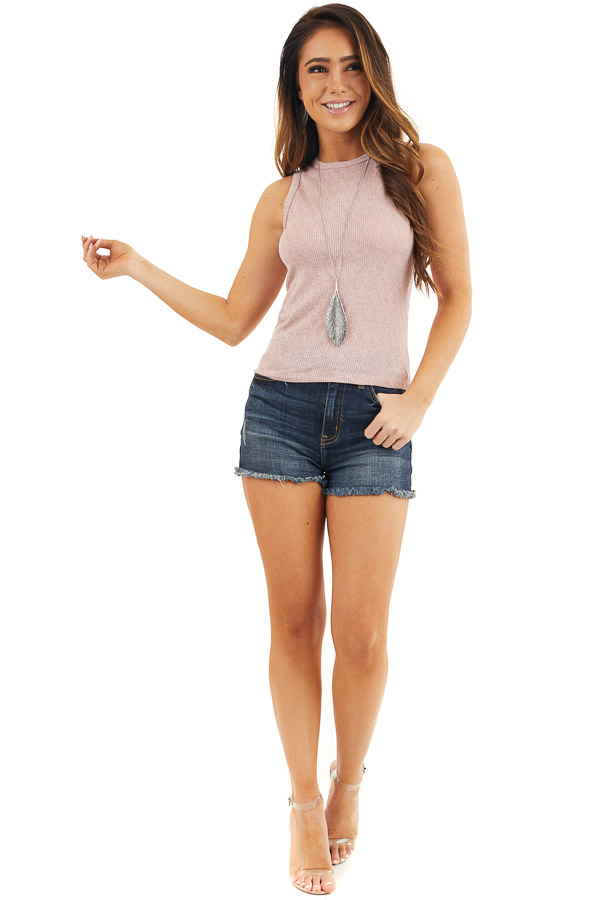 Dusty Rose Textured Knit Tank Top with Rounded Neckline front full body