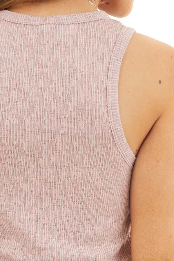 Dusty Rose Textured Knit Tank Top with Rounded Neckline detail