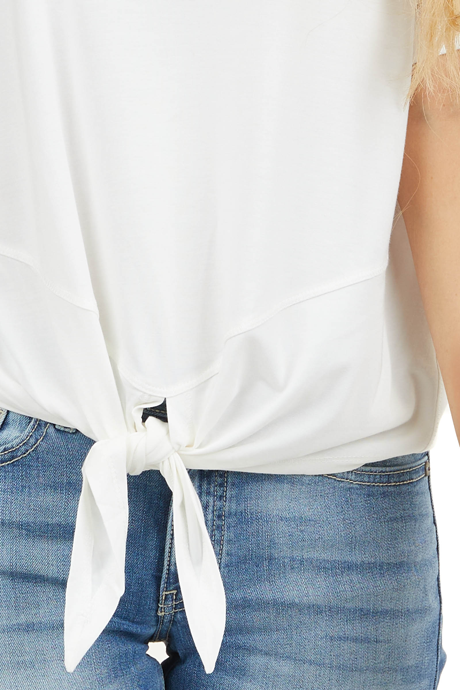 Ivory Short Sleeve Knit Top with Front Knot Detail