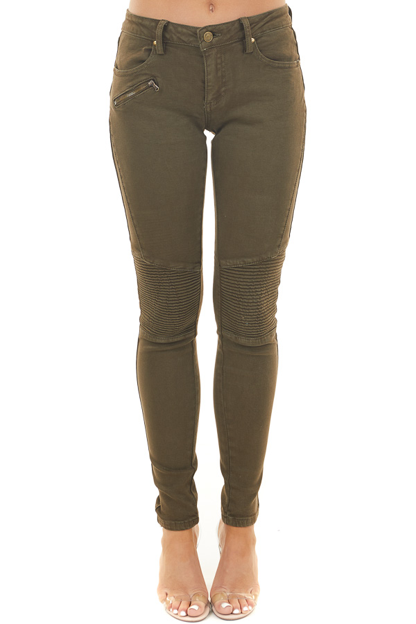Olive Moto Skinny Jeans with Functional Pockets