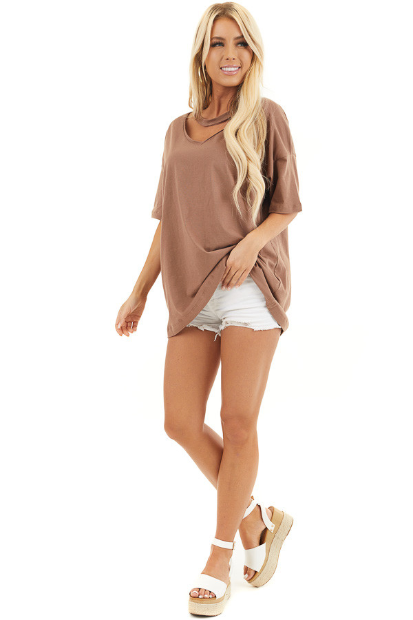 Coco Short Sleeve Knit Top with Chocker Neckline Detail front full body