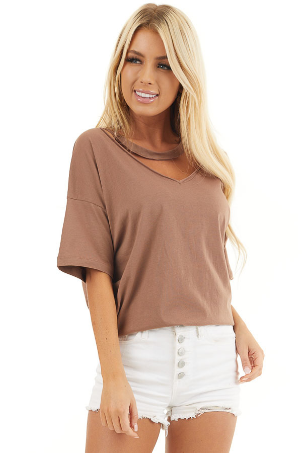 Coco Short Sleeve Knit Top with Chocker Neckline Detail front close up