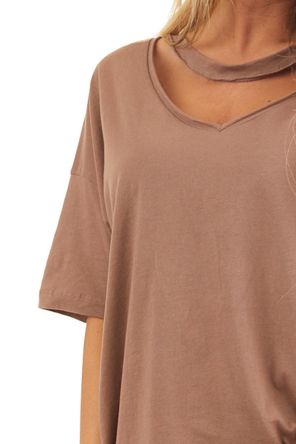 Coco Short Sleeve Knit Top with Chocker Neckline Detail detail