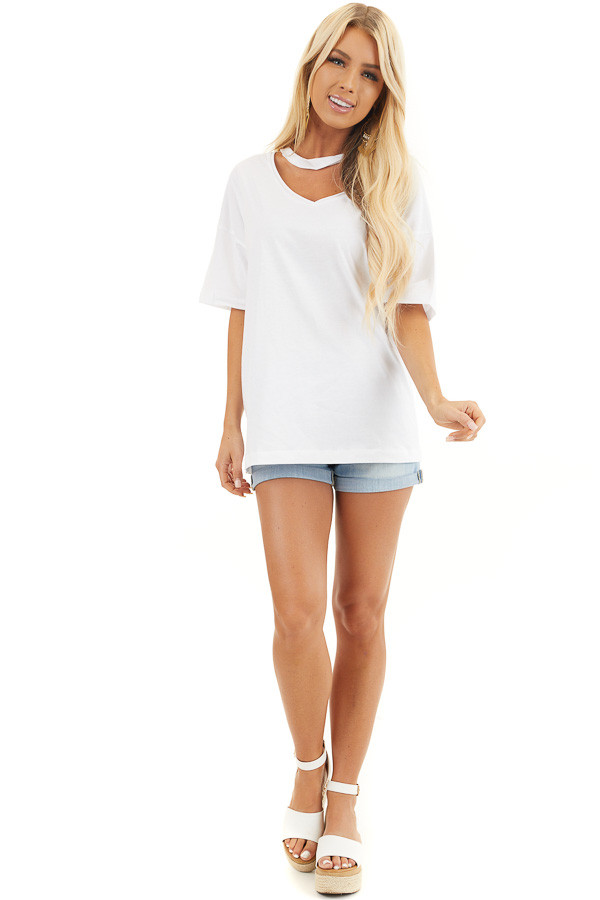 White Short Sleeve Knit Top with Chocker Neckline Detail front full body