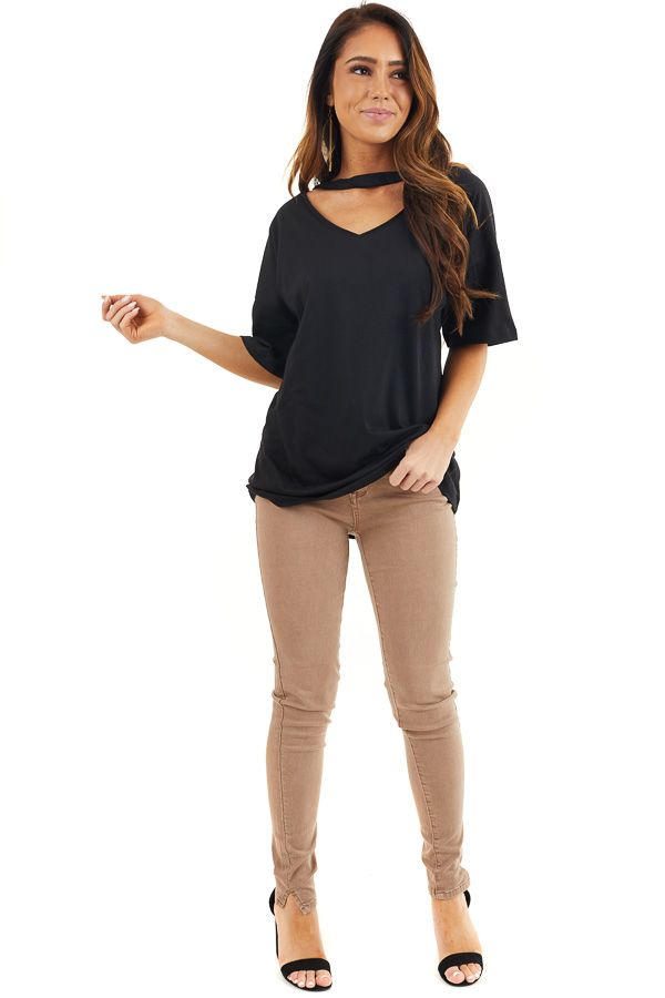 Black Short Sleeve Knit Top with Choker Neckline Detail front full body